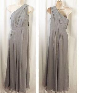 David's Bridal Dresses - David's Bridal One-Shoulder Crinkle Chiffon Dress